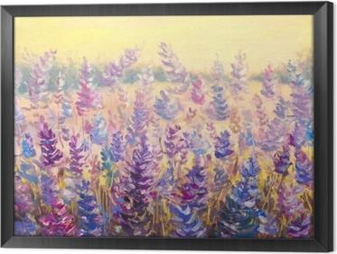 Ingelijst Canvas Gebied van gevoelige bloemen voor een bos. lavendel. blauw-paarse bloemen in de zomer olieverf op doek. impasto kunstwerk. impressionisme kunst.