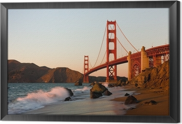 Ingelijst Canvas Golden Gate Bridge in San Francisco bij zonsondergang