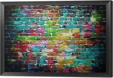 Ingelijst Canvas Graffiti muur