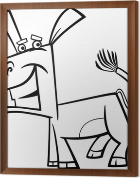 Funny Donkey Cartoon Coloring Page Sticker Pixers We Live To Change