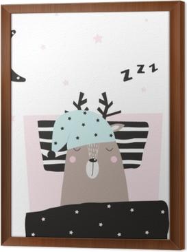 Ingelijst Canvas Grappige herten in slaap in zijn bed. vector hand getrokken illustratie.