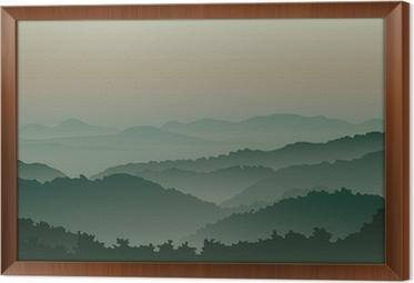 Ingelijst Canvas Groene bergen in de mist