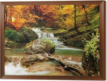 Ingelijst Canvas Herfst creek bos met gele bomen