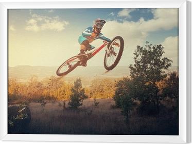 Ingelijst Canvas Man hoogspringen op een mountainbike. Downhill fietsen.