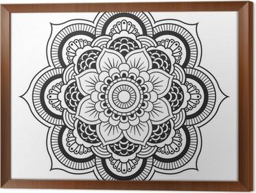 Ingelijst Canvas Mandala. Rond Ornament Patroon