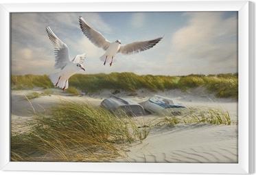Ingelijst Canvas Meeuwen, duinen en vissersboten