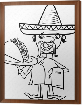Mexican Chef With Taco Coloring Page Canvas Print Pixers We