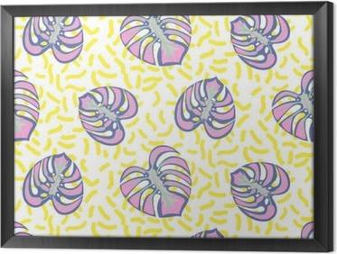 Ingelijst Canvas Monstera tropische plant bladeren paarse en gele streepjes naadloos patroon. Exotische natuur patroon voor stof, behang of kleding.