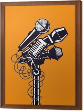 Ingelijst Canvas Muziek poster met microfoons.