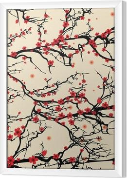 Ingelijst Canvas Naadloze boom patroon. Japanse kersenbloesem