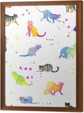 Ingelijst Canvas Naadloze patroon met schattige katten
