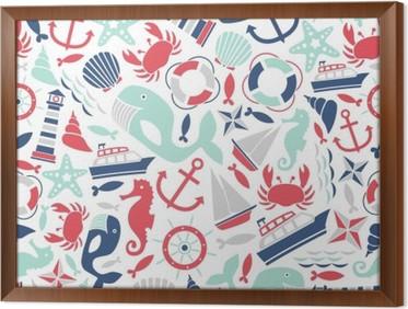 Ingelijst Canvas Naadloze patroon met zee iconen
