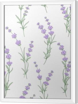 Ingelijst Canvas Naadloze patroon van lavendel bloemen op een witte achtergrond. waterverfpatroon met lavendel voor stoffenmonster. naadloos patroon voor stof. vectorillustratie