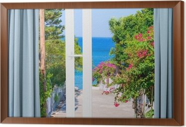 Fotobehang Natuur landschap met een uitzicht door een raam met ...
