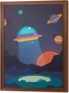 Ingelijst Canvas Night vreemde wereld landschap en ufo ruimteschip