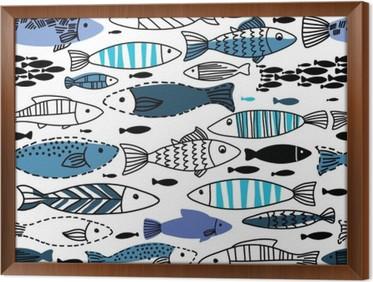 Behang Kinderkamer Vissen : Poster onderwater naadloze patroon met vissen. naadloos patroon kan