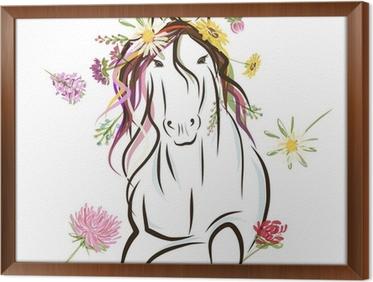 Verrassende Kinderkamer Paarden : Muursticker paard schets met florale decoratie voor uw ontwerp