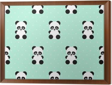 Behang Met Stippen : Fotobehang panda naadloos patroon op stippen groene achtergrond