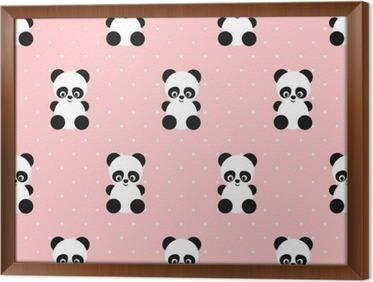 Behang Met Stippen : Behang panda naadloos patroon op stippen roze achtergrond. leuk