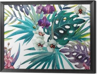 Ingelijst Canvas Patroon met bladeren van de orchidee hibiscus, waterverf