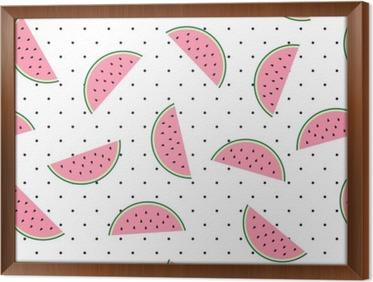 Behang Met Stippen : Canvas plakken van de watermeloen naadloze patroon op een witte