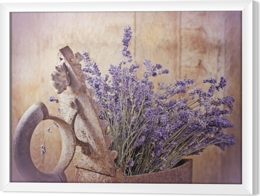 Ingelijst Canvas Rustieke ijzer (oud irin) en droge lavendel