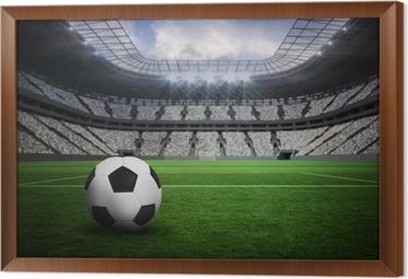 Ingelijst Canvas Samengesteld beeld van zwart-wit lederen voetbal