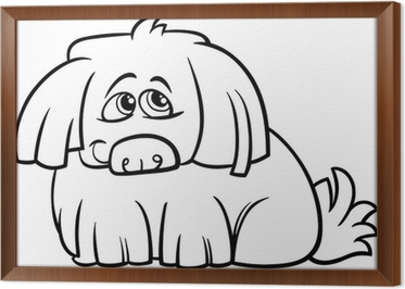Cute Hairy Dog Cartoon Coloring Page Canvas Print Pixers We