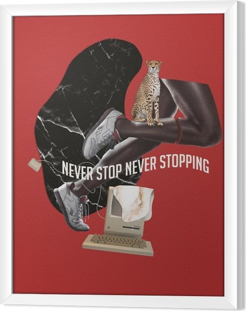 Ingelijst Canvas Stop nooit. Geef nooit op. -