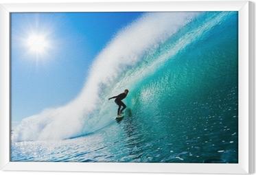 Ingelijst Canvas Surfer op Blue Ocean Wave