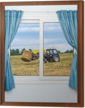 Fotobehang Tractor hooi verwijdert het uitzicht vanuit het raam met ...