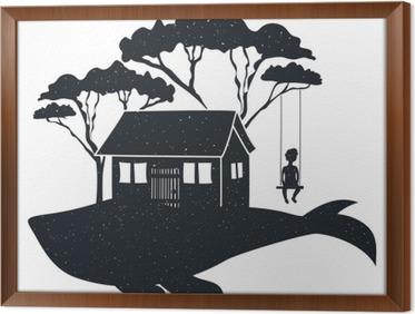 Schommel In Huis : Poster vector hand getrokken stijl typografie affiche met walvis