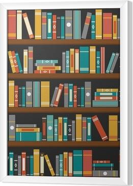 Ingelijst Canvas Vector van de bibliotheek boekenkast achtergrond