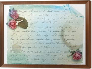 Fotobehang vintage achtergrond met oud papier en bloemen met i love ingelijst canvas vintage achtergrond met oud papier en bloemen met i love you voltagebd Choice Image