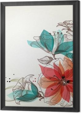 Ingelijst Canvas Vintage bloemen achtergrond