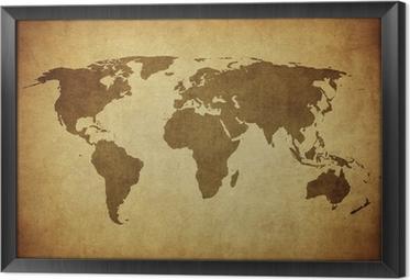 Ingelijst Canvas Vintage kaart van de wereld