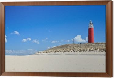 Ingelijst Canvas Vuurtoren in de duinen bij het strand