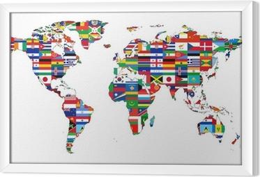 Ingelijst Canvas Wereldkaart met vlaggen