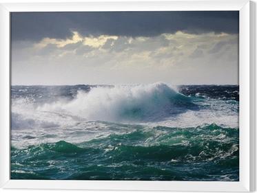 Ingelijst Canvas Zee Golf tijdens storm
