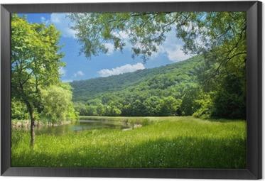 Ingelijst Canvas Zomer landschap met rivier en blauwe hemel