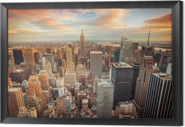 Ingelijst Canvas Zonsondergang in New York met uitzicht over Manhattan