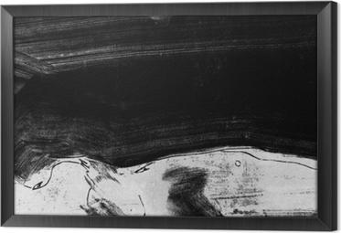 Ingelijst Canvas Zwart-wit handgeschilderde achtergrondstructuur met grunge penseelstreken