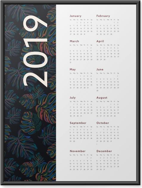 Ingelijste Poster Kalendarz 2019 - bloemen -