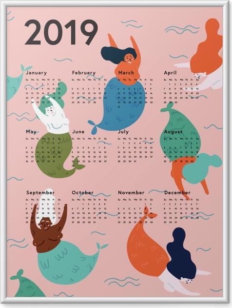 Ingelijste Poster Kalendarz 2019 - zeemeerminnen -