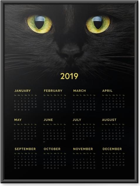 Ingelijste Poster Kalender 2019 - Black cat -