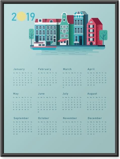 Ingelijste Poster Kalender 2019 - zonnig huis -
