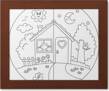 Casa Di Campagna Giorno E Notte Da Colorare Per Bambini Poster