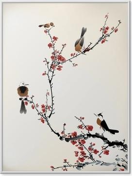 Ingelijste Poster Vogels schilderen