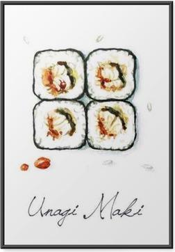 Ingelijste Poster Watercolor Voedsel Schilderij - Unagi Maki