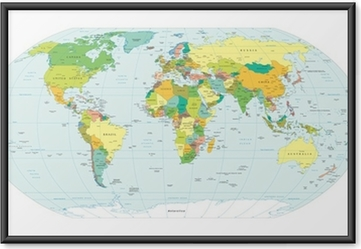 Ingelijste Poster Wereldkaart politieke grenzen